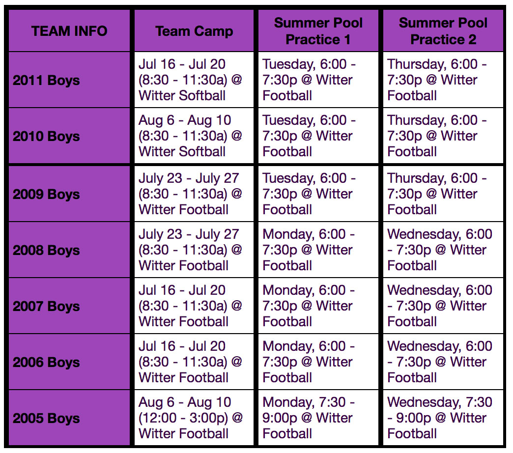 psc summer camp schedule 2018 boys