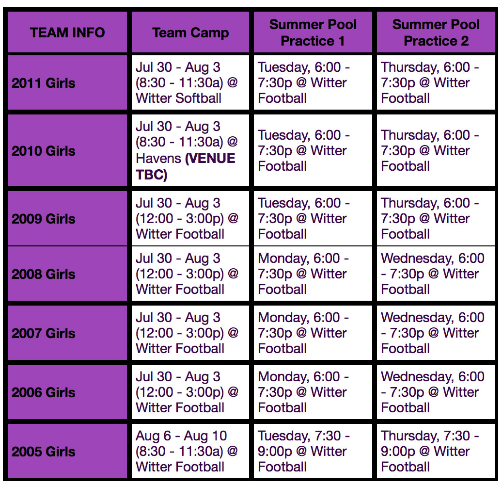 psc summer camp schedule 2018 girls