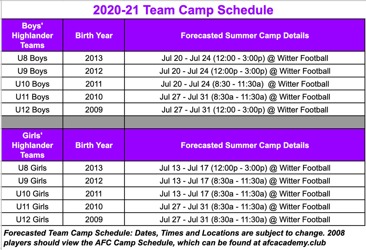 psc summer camp schedule 2020